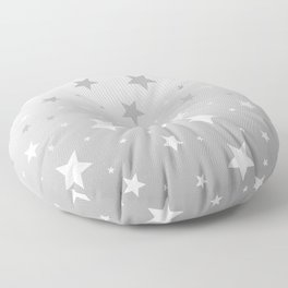 Scattered Stars Ombre Pale Silver Gray to White Floor Pillow