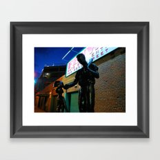 Ted  -- Ted Williams Statue outside Fenway Park in Boston at dusk, Red Sox Framed Art Print