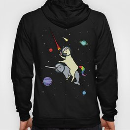 Llamacorn Riding Narwhal In Space Hoody
