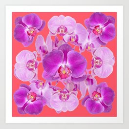 Pink & Purple Orchids Coral Colored Art Patterns Art Print