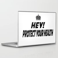 health Laptop & iPad Skins featuring Protect your Health by ThreeWords