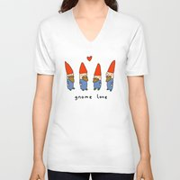 gnome V-neck T-shirts featuring Gnome Love by Sophie Corrigan