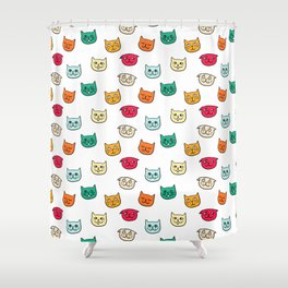 Cat heads in colors Shower Curtain