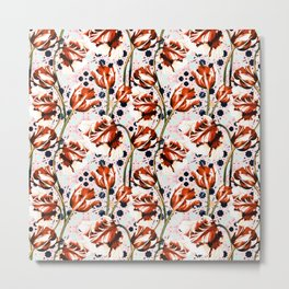 Tulips over pattern moroccan Metal Print