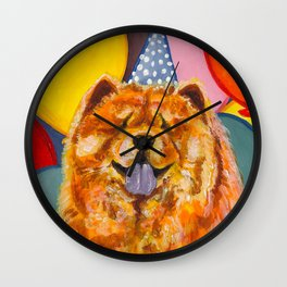 Chow Chow with Balloons Wall Clock