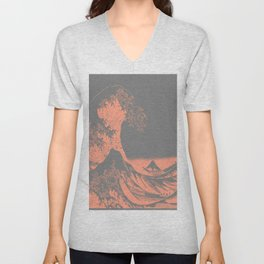 The Great Wave Peach & Gray Unisex V-Neck