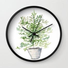 Christmas Tree in Galvanized Bucket Wall Clock