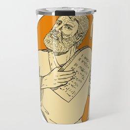 Prophet Moses Ten Commandments Drawing Color Travel Mug