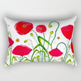 Flower#1 - Red Poppies Rectangular Pillow