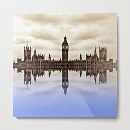 Westminster on water Metal Print