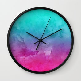 Modern bright summer turquoise pink watercolor ombre hand painted background Wall Clock