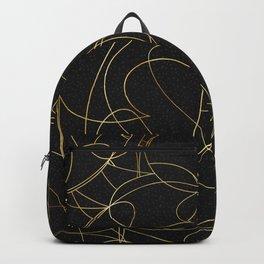 Modern Gold Line Art Gray Dots Abstract Design Backpack