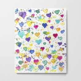 Colorful Heart Pattern Paint Splatters Metal Print