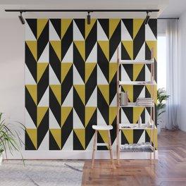 Geometric Pattern 77 (mustard black triangles) Wall Mural
