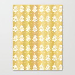Luxury Gold Foil Festive Christmas Trees Candle Pattern Canvas Print