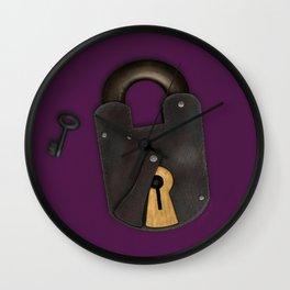 Vintage Padlock & Key on Plum Wall Clock