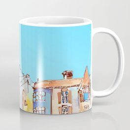 Pretty colorful houses street in old town with blue sky Coffee Mug