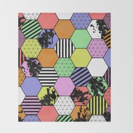 Pastel Tex Hex - Abstract, geometric, pastel themed, hexagon pattern Throw Blanket