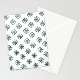 Snowflakes (Dark Green & White Pattern) Stationery Cards