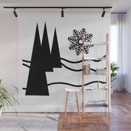 Christmas Trees and Snow Wall Mural