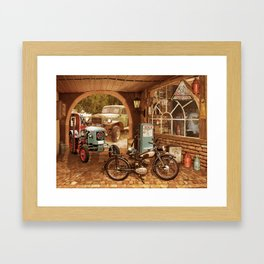 Nostalgic garage with tractor and motorcycle Framed Art Print