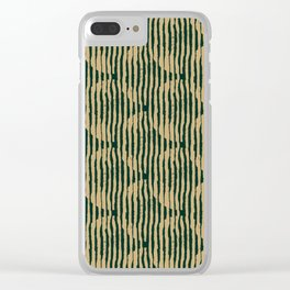 Zen Circles Block Print In Green and Gold Clear iPhone Case