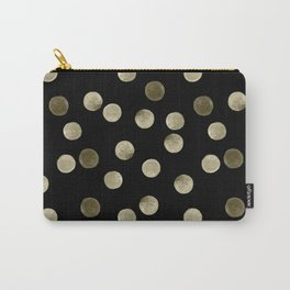 Watercolor . Olive green polka dots on black . Carry-All Pouch