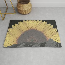Boulder Colorado Flatirons Sunflower Decor \\ Chautauqua Park Floral Yellow Nature Bohemian Style Rug