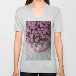Pink mums in fabric Unisex V-Neck