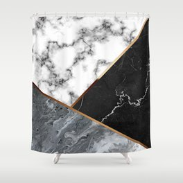 Elegant Silver Marble with Bronze Lining Shower Curtain