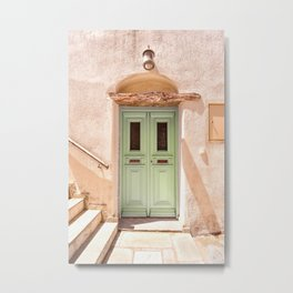 Traditional House Front Door in Greece, Mediterranean Architecture in Pastel Colors Metal Print