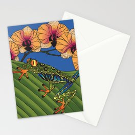 Tree Frog with Orchids Stationery Cards