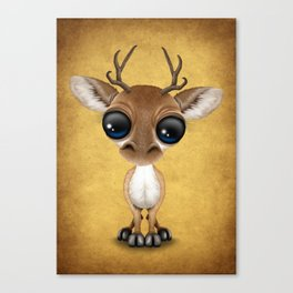 Cute Curious Baby Deer Calf with Big Eyes on Yellow Canvas Print