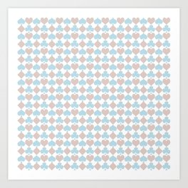 Playing Cards Pattern Blue Lilac on White Art Print