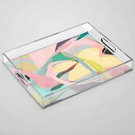 Shapes and Layers no.23 - Abstract Draper pink, green, blue, yellow Acrylic Tray