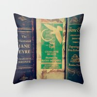 jane eyre Throw Pillows featuring Jane Eyre by Apples and Spindles
