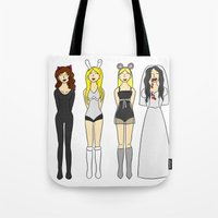 mean girls Tote Bags featuring Mean Girls Halloween by CozyReverie
