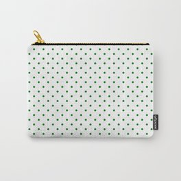 Small Green Polkadot Heart on Snow White Carry-All Pouch