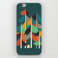 cabin iPhone & iPod Skins featuring Cabin in the woods by Picomodi