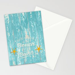 Happy Beach Life- Saying on aqua wood Stationery Cards