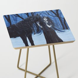 Midnight Travelers Gothic Fairy and Unicorn Side Table