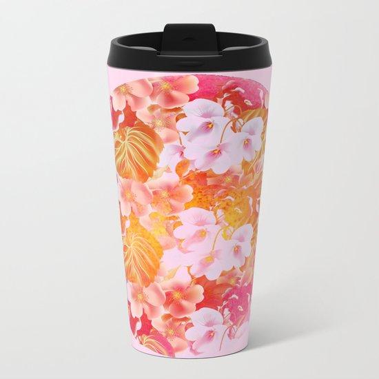 pink floral in a circle Metal Travel Mug