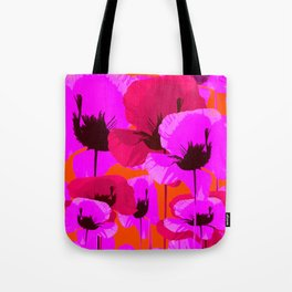 Pink And Red Poppies On A Orange Background - Summer Juicy Color Palette Retro Mood #decor #society6 Tote Bag