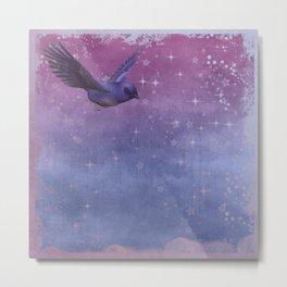 Bird Neck Gator Blue and Purple Bird Metal Print