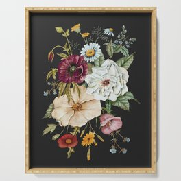 Colorful Wildflower Bouquet on Charcoal Black Serving Tray