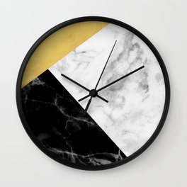 Marble & Gold Collage Wall Clock