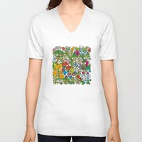 floral pattern V-neck T-shirts featuring Floral pattern by Matt Johnstone