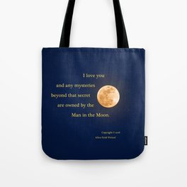 """""""January Blue Moon"""" with poem: Any Mysteries Tote Bag"""