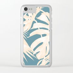 Palm Leaves Citrus on Deep Ocean Blue Clear iPhone Case