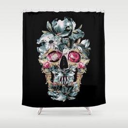 Skull on Black Shower Curtain